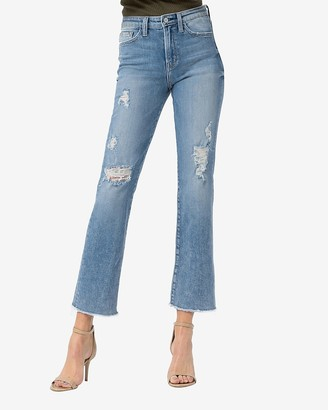 Express Flying Monkey High Waisted Distressed Straight Cropped Jeans