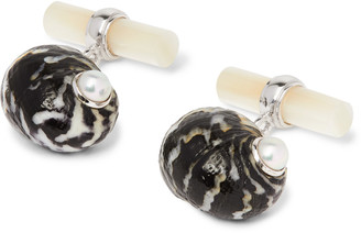 18-Karat White Gold Mother-Of-Pearl And Shell Cufflinks