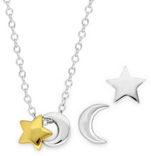 Rhona Sutton 4 Kids Children's 2-Tone Celestial Stud Earrings Pendant Necklace Set in Sterling Silver and 14K Yellow Gold Plating