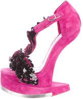 Alexander McQueen Floral Sculptural Wedge Sandals