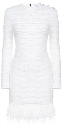Balmain Short Ls Fringed Tweed Dress