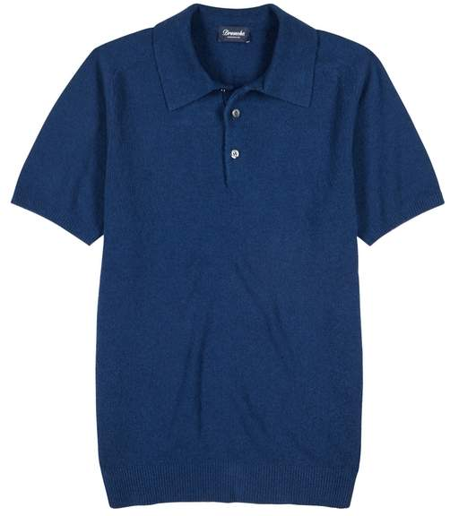 Drumohr Blue Terry Polo Shirt