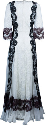 Dolce & Gabbana White Lace Detail Gown M