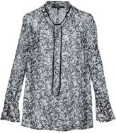 Derek Lam marble print drawstring blouse