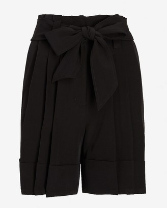Express Super High Waisted Belted Pleated Twill Shorts