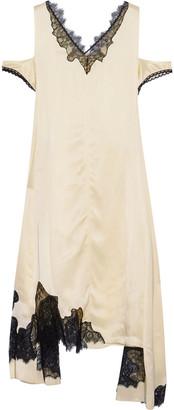 Helmut Lang Asymmetric Cold-shoulder Chantilly Lace-trimmed Satin Dress