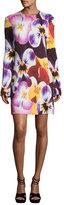 Christopher Kane Pansy-Print Long-Sleeve Dress, Multi