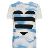 Moschino Cheap and Chic Sky and heart print stretch crepe T-shirt