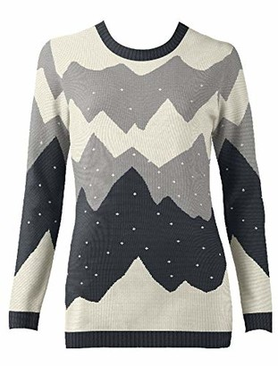 British Christmas Jumpers Women's Mountain Peak Black Eco Christmas Jumper Pullover Sweater