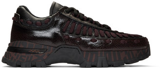 Ermenegildo Zegna Black and Burgundy Claudio Sneakers