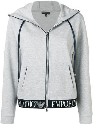 Emporio Armani Zip Front Logo Waistband Hoodie