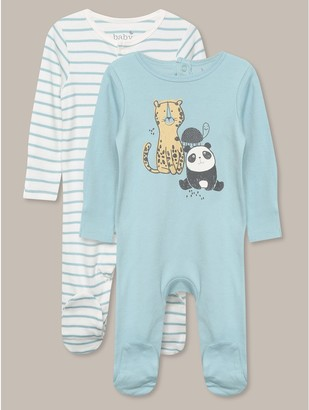 M&Co Animal pattern sleepsuit two pack (tinybaby-18mths)