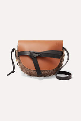 Loewe Gate Small Leather And Tweed Shoulder Bag - Tan