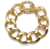 Kenneth Jay Lane Gold and Rhinestone Chain Bracelet