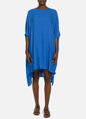 St. John Satin Silk Georgette Draped Dress