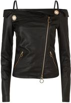 Pinko Elise Off-The-Shoulder Leather Jacket