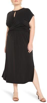 ELOQUII Wrap Front Keyhole Dress