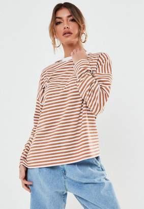 Missguided Camel Stripe Drop Shoulder Long Sleeve T Shirt