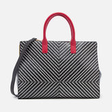 Lulu Guinness Women's Diagonal Stripes Daphne Tote Bag Black/Chalk