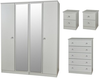 Swift Verve PartAssembled 4 Piece Package - 4 Door Mirrored Wardrobe, 5 Drawer Chest and 2 Bedside Chests
