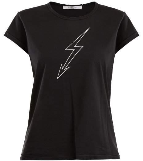 Givenchy Lightning Bolt Print Cotton T Shirt - Womens - Black