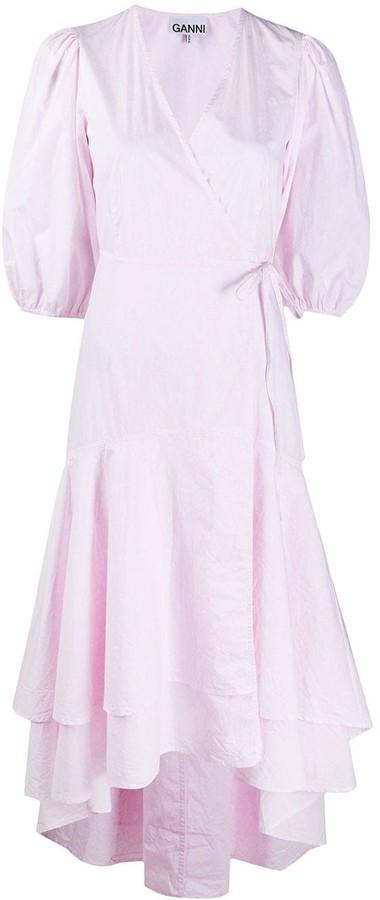 Ganni Ruffled Hem Wrap Dress Shopstyle