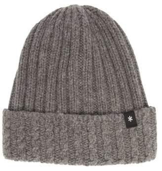 Snow Peak Logo-tab Knitted-wool Beanie Hat - Mens - Dark Grey