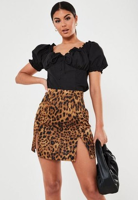 Missguided Brown Leopard Print Satin Split Mini Skirt