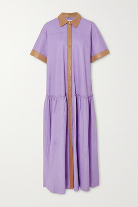 Stand Studio Lauren Two-tone Leather Dress - Lilac
