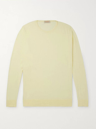 John Smedley Theon Slim-Fit Sea Island Cotton and Cashmere-Blend Sweater - Men - Yellow