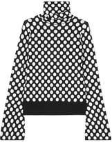 House of Holland Polka-dot Jacquard-knit Turtleneck Sweater - Black