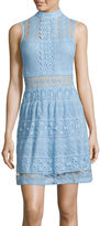 Trixxi Sleeveless High-Neck Lace Fit-and-Flare Dress