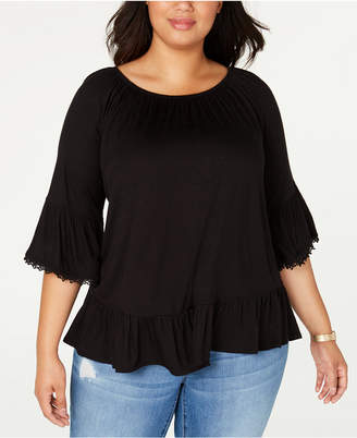 Style&Co. Style & Co Plus Size Flounce 3/4-Sleeve Top