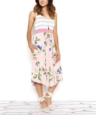 Egs By Eloges egs by eloges Women's Casual Dresses Dust - Dust Pink & Gray Stripe & Floral Sleeveless Midi Dress - Women & Plus