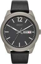 DKNY Gansevoort Black Leather 3 Hand Watch, Mens