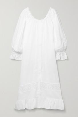 Sleeper Paloma Off-the-shoulder Crochet-trimmed Linen Midi Dress - White