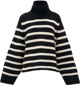 KHAITE Molly Stripe-intarsia Cashmere Sweater - Womens - Black White