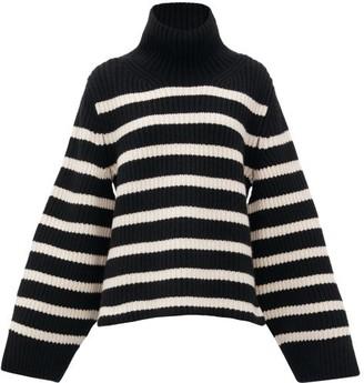 KHAITE Molly Stripe-intarsia Cashmere Sweater - Black White