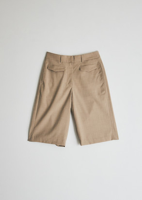 BEIGE Mijeong Park Women's Tailored Shorts in Beige, Size Extra Small | Wool