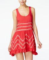 Free People Lace-Trim Printed Trapeze Dress