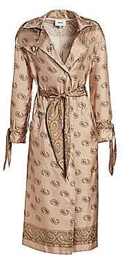 Nanushka Women's Noir Silk Paisley Print Trench Coat