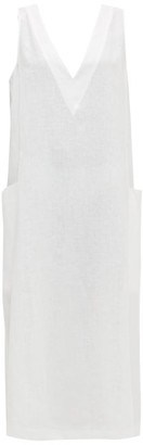 ASCENO Seville V-neck Linen Midi Dress - White
