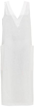 Asceno - Seville V-neck Linen Midi Dress - Womens - White