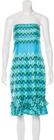 Tibi Strapless Geometric Print Dress