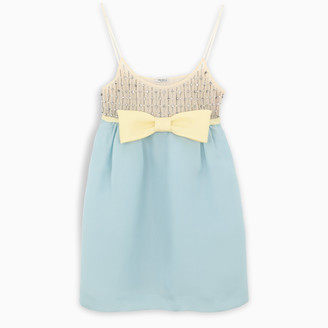 Miu Miu Light blue short dress with crystals and bow detail