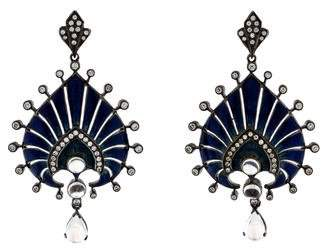 Arunashi Enamel, Diamond & Moonstone Earrings