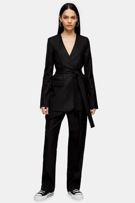 Topshop Womens **Black Collarless Wrap Blazer By Boutique - Black