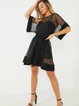 Quiz Organza Skater Dress - Black