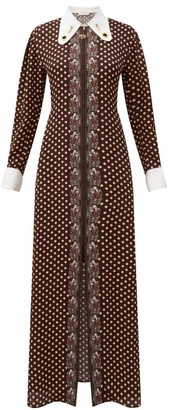 Chloé Collared Polka-dot Crepe Maxi Dress - Beige Multi