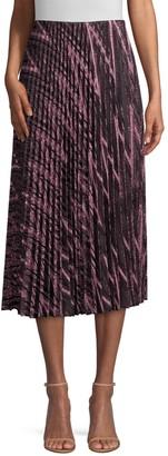 Saks Fifth Avenue Zigzag Lurex Knit Pleated Midi Skirt